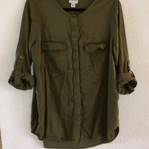 Olive Green Ava & Viv Button Up Blouse 1x